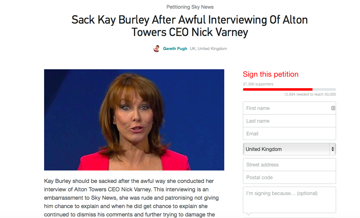 Thousands sign petition to sack Kay Burley following interview with boss from Alton Towers!