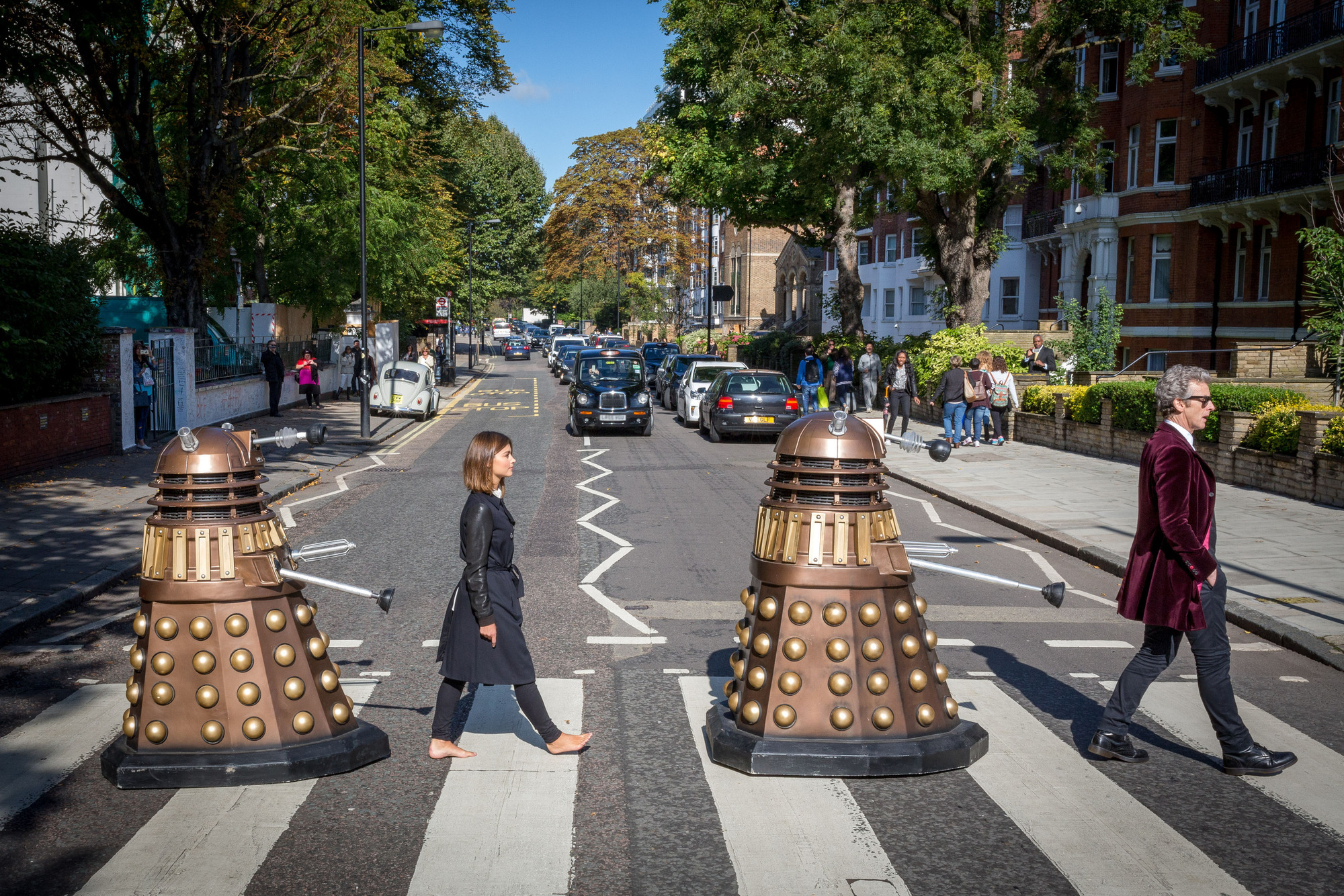 The Doctor and Clara at Abbey Road Crossing